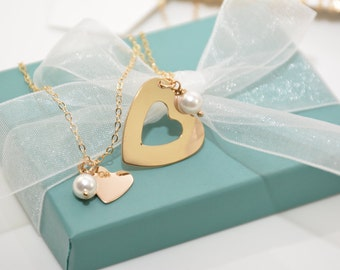 Mother daughter gold necklaces, Gold heart necklace set