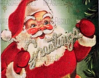 Retro Tinsel Greetings Santa Claus Christmas Card #89 Digital Download