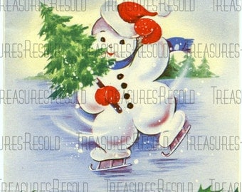 Retro Snowman Ice Skating Christmas Card #167 Digital Download