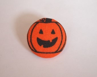 Halloween orange and black Jack O Lantern fabric covered buttons (size 60, 40, 32)