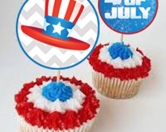 Cupcake Toppers, Fourth of July, Printable