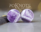 Dogtooth Amethyst Stone Plugs - Double Flared - 1 Pair - 6mm - 8mm - 10mm - 11mm - 12.7mm - 14mm - 16mm - 19mm - 22mm - 25mm - Organic