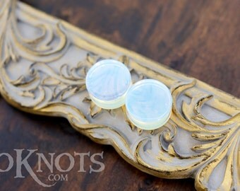 Opalite Plugs - Double Flared - 1 Pair - 6mm - 8mm - 10mm - 11mm - 12.7mm - 14mm - 16mm - 19mm - 22mm - 25mm