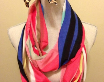 Colourful Striped Infinity Scarf