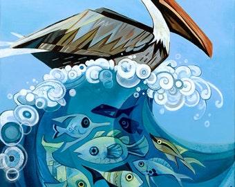 Pelican original acrylic painting
