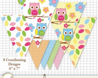 "Printable Pennant Se t- Colorful Owls, leaves and dots 6"" x 7"""