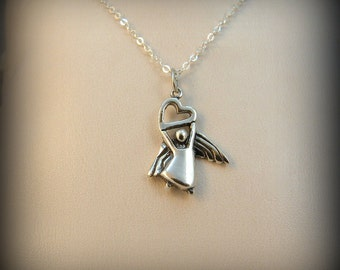 Angel necklace, sterling silver angel with heart, angel charm necklace