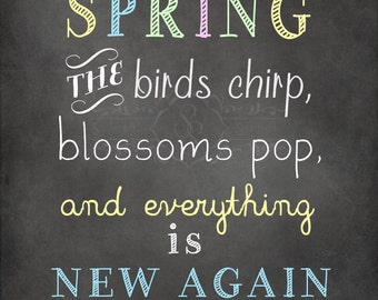 Spring decor,  Chalkboard Printable, INSTANT download, Printable chalkboard art, home decor