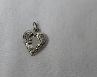 Vintage Puffy Heart Charm