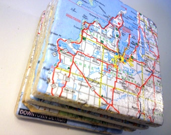 CUSTOM Vintage Map Coasters - Choose any location in the World!