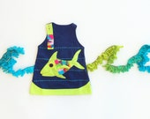 Girl's Dress, FISH Dress, FISH Clothing, Handmade Clothing, Applique Dress, Applique Clothing, Navy Dress, Children's Dress