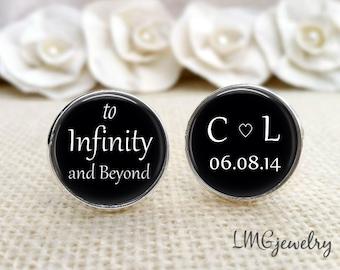 Groom Cufflinks, Wedding Cufflinks, Infinity and Beyond, Custom Groom Cufflinks Gift for Groom