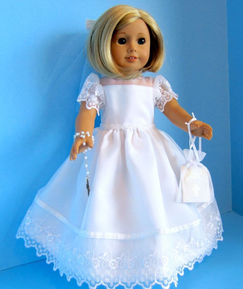 american girl doll first communion dress with embroidered. Black Bedroom Furniture Sets. Home Design Ideas