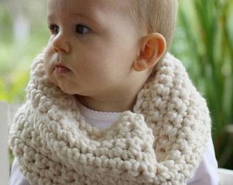 Crochet Cream Toddler Cowl Infinity Scarf