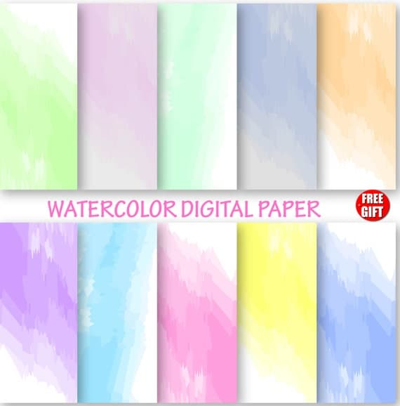 Watercolor Digital Paper Water color Wallpaper ombre DIY watercolor background digital use and print Color Baby shower gift wrapping ideas