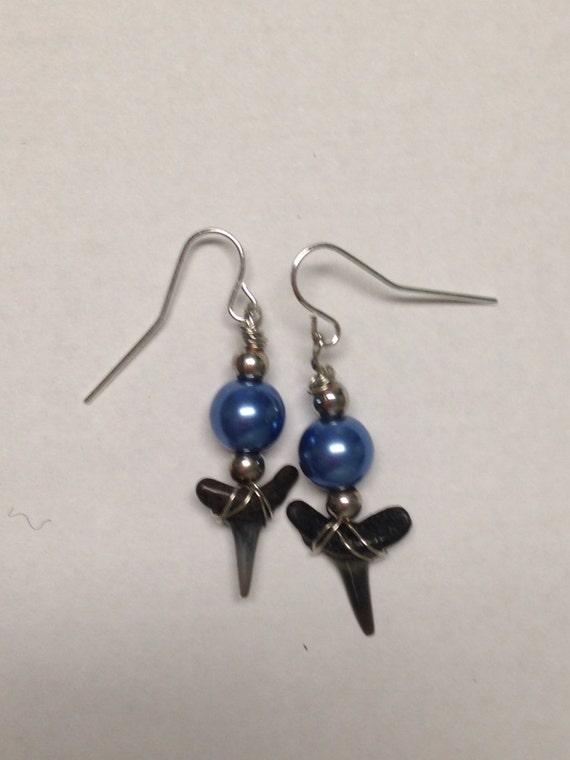 sharks teeth earrings with blue pearls dangle earrings