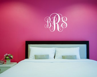 Wall Decal Etsy - Monogram wall decal for nursery