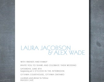 DIY printable: wedding invitation, only block font, modern, simple, white space wedding - PDF file (not instant download)