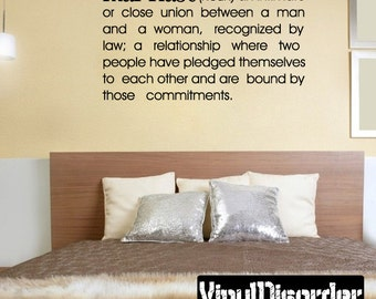 Marriage noun an intimate or close union between a man and a woman - Vinyl Wall Decal - Wall Quotes - Vinyl Sticker - Dfb010ET