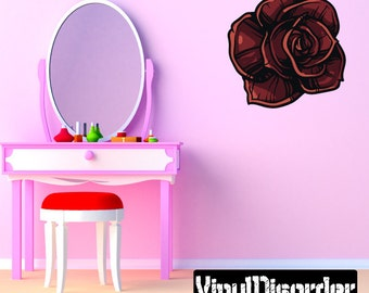 Rose Wall Decal - Wall Fabric - Vinyl Decal - Removable and Reusable - RoseUScolor001ET