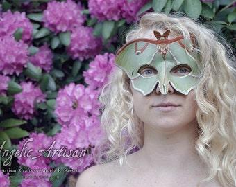Full Spread Wings Ascending Luna Moth Leather Masquerade Mardi Gras Mask