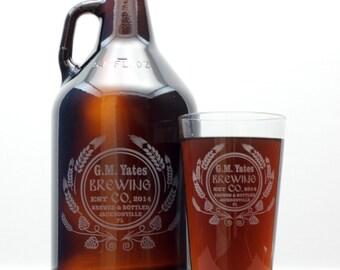 Custom Homebrew Growler and set of 2 glasses with hops and wheat art  Homebrew,  growler, custom Beer Glass, Beer Gift, Beer