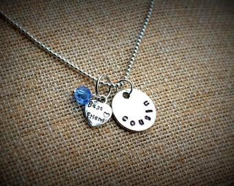 COUSIN Best Friend Hand Stamped Necklace