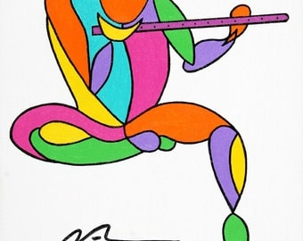 Figurative abstract of a man playing a flute in vibrant colors.