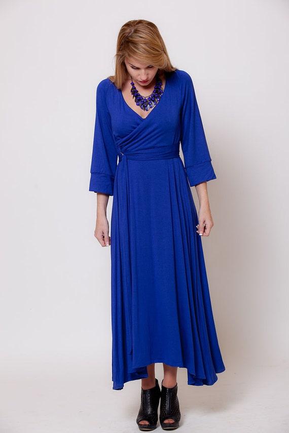 Blue Long Sleeve Maxi Dress Wrap Top Dress Women By Almogdesigns