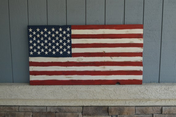 Outdoor Wood American Flag