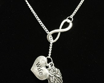 Infinity Guardian Angel Wing Love My Wife In Heaven Memory Y Lariat Necklace