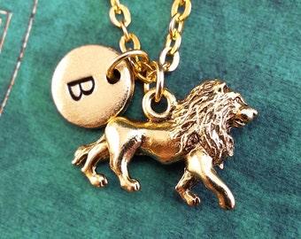 Lion Necklace SMALL Gold Lion Pendant Necklace Lion Memorial Lion Tribute Lion Gift Lion Jewelry Personalized Jewelry Lion Charm Necklace