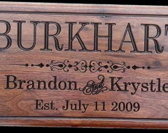 Personalized wood Sign carved wooden sign Established sign Personalized Family Name Sign