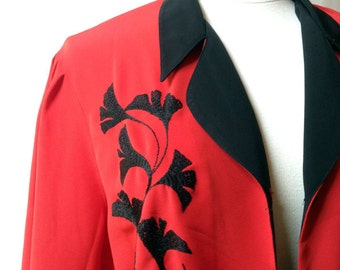 Red vermilion BLOUSE with black Gingko embroidery - Size 6 (US)