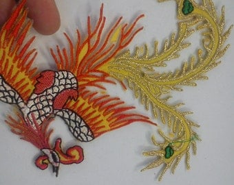 4 Large phoenix embroidery motif iron on applique sew on patch