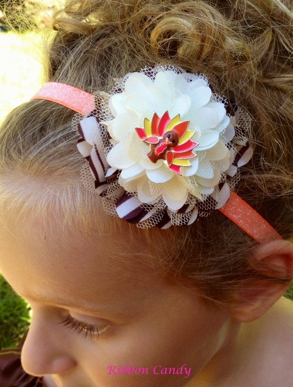 Headband, hair accessories, kids hair ribbon flower.... Satin and Tulle Thanksgiving flower with turkey  on Glitter Stretch Ribbon