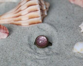 Pink & Silver Stardust Adjustable Ring - Antique Bronze
