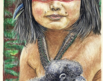 Quality prints available of my original watercolour drawing of a Native boy nursing his pet monkey