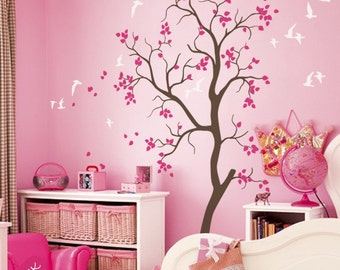 Nursery tree wall decal with Flying birds and cute leaves baby room wall mural sticker large tree 053_1