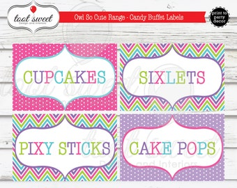 Printable Owl Birthday Party Labels - Candy Bar, Candy Buffet Labels