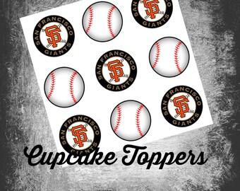 INSTANT DOWNLOAD MLB San Francisco Giants Baseball Themed Cupcake Toppers - Printable