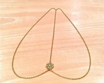 Hair chain, Gold hair chain, Head jewelry
