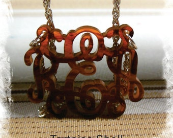 Monogram Acrylic Necklace - Vine Monogram 3 Initial Name Laser cut Acrylic monogram Jewelry - Tortoise Shell Necklace