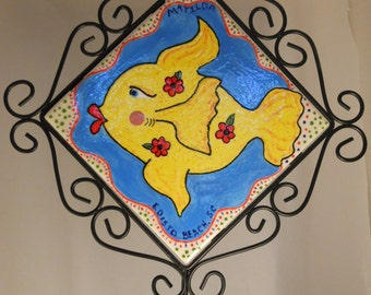 Fishy Wall Art • Matilda the Yellow Fish with Red Roses • Swimming on a Blue Sea Tile with a Wrought Iron Hanger • Crafts by the Sea