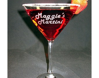 Midtown Martini Glass, Engraved Martini Glass,  Personalized Martini Glass, Custom Martini Glass