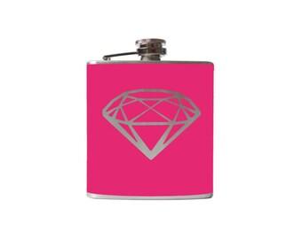 Diamonds Are A Girls Best Friend Flask- Personalized, CUSTOM COLOR, SIZE - Waterproof Vinyl, Freezer Safe
