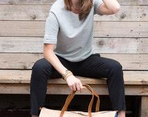 Cork and Denim Weekender Bag/ Unisex Duffle Bag/ Large Travel Bag/ Denim Overnight Bag/ Cork Duffel Bag/ Made in USA Bag/ Spicer Bags