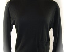 Vintage SK & Company Solid Black Sweater Pullover Wool Blend