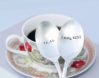 Khal & Khaleesi | Stainless Steel Stamped Spoon Set | Game of Thrones Gifts | Unique Engagement and Geek Wedding Ideas | GoT Spoons