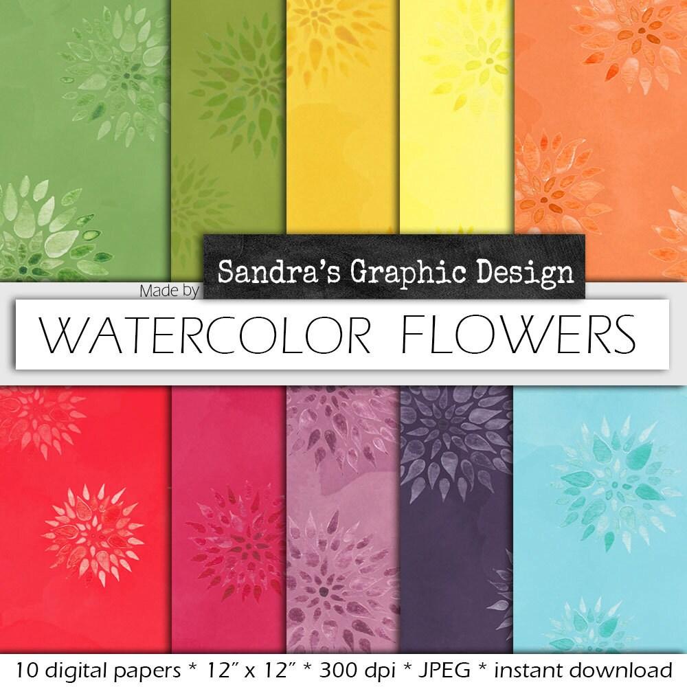 Watercolor Digital Paper Watercolor Flowers With Hand Painted Watercolor Digital Paper Backgrounds 726 Sandra S Graphic Design